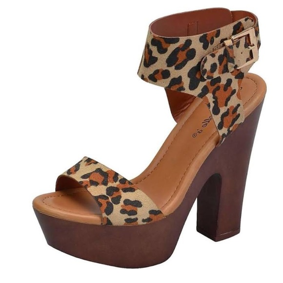 49b8281fefd Breckelles Shoes - 💥Cheetah Ankle Wrap Stacked Chunky Heel Platform